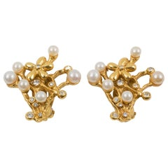 Kenzo Floral Jeweled Clip Earrings with Pearl