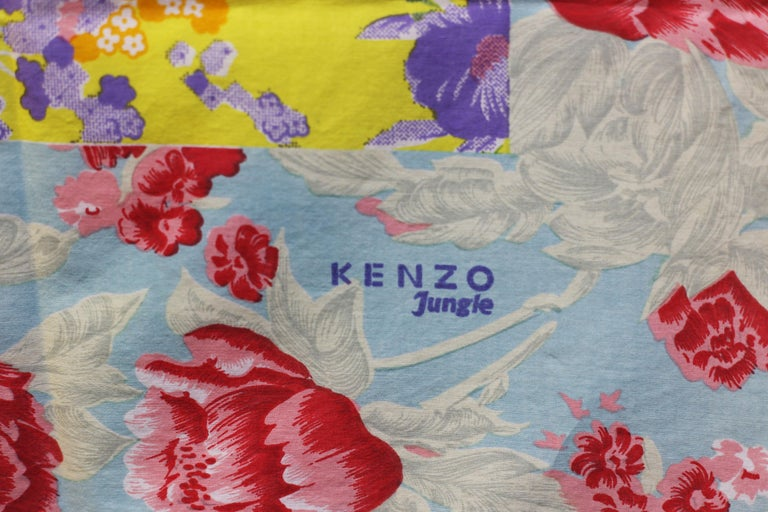 Women's Kenzo  floral print blue,  pink and red beach  scarf For Sale