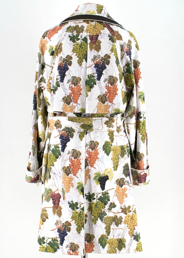 Beige Kenzo Grape Print Trench Coat 44 For Sale