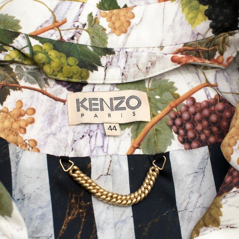 Women's Kenzo Grape Print Trench Coat 44 For Sale