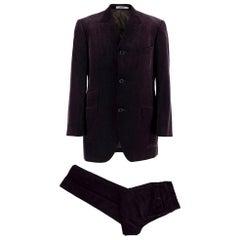 Kenzo Grape Wool Velvet Single Breasted Suit - Size L EU50