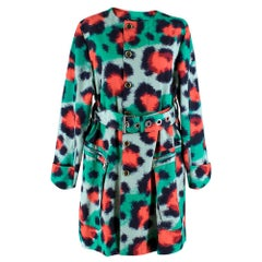 Kenzo Green & Red Leopard Print Coat - Size US 12