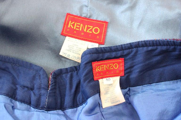 Kenzo Green Tartan Wool Check Pants Suit Dress 1980s For Sale 6