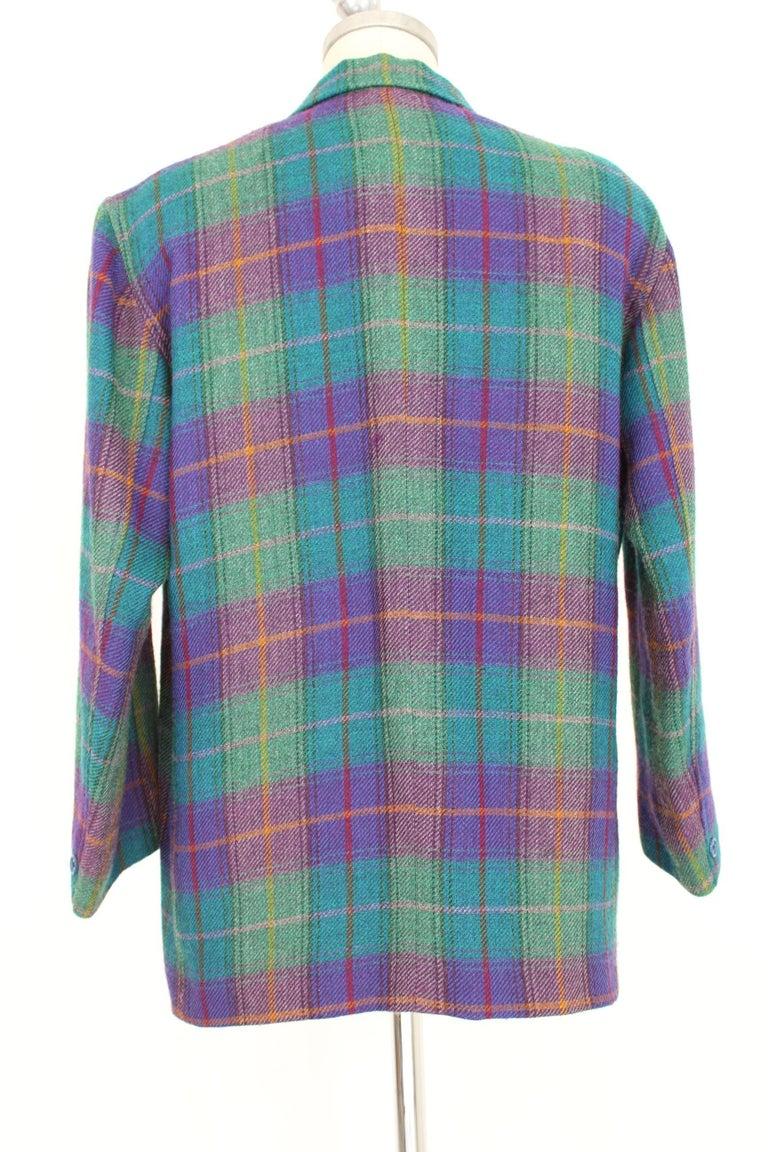 Women's Kenzo Green Tartan Wool Check Pants Suit Dress 1980s For Sale