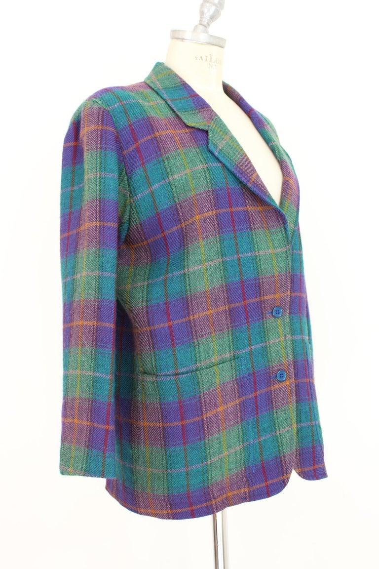 Kenzo Green Tartan Wool Check Pants Suit Dress 1980s For Sale 2