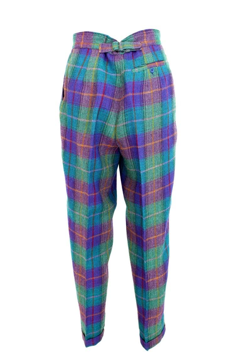 Kenzo Green Tartan Wool Check Pants Suit Dress 1980s For Sale 3