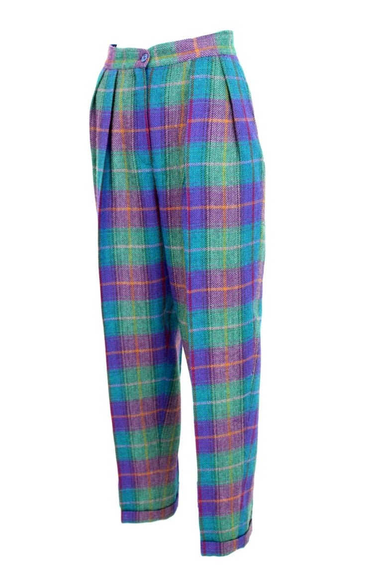 Kenzo Green Tartan Wool Check Pants Suit Dress 1980s For Sale 5