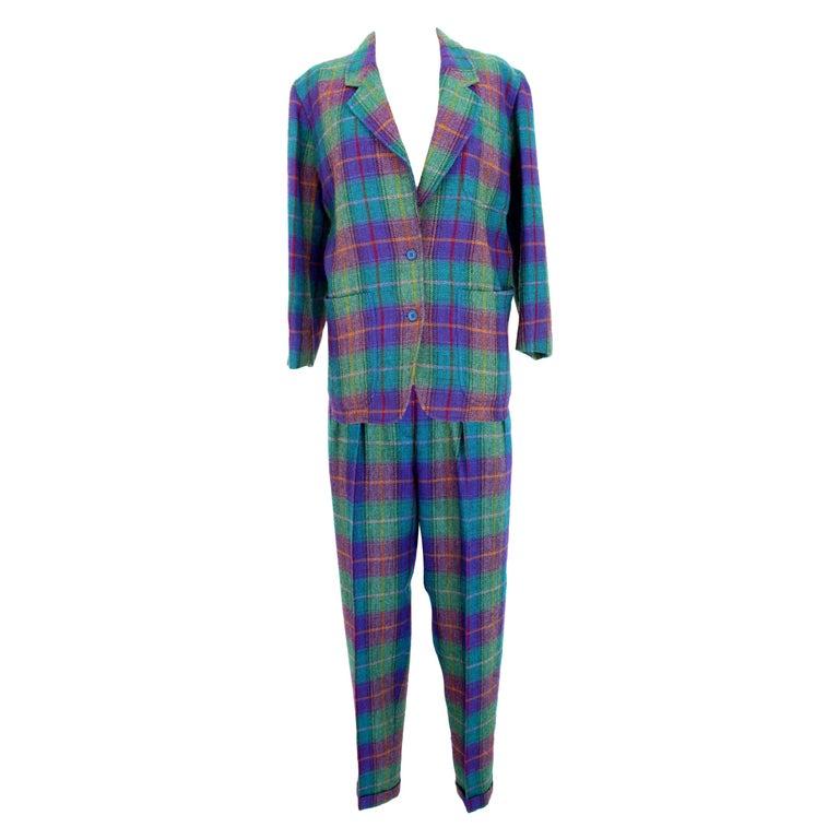 Kenzo Green Tartan Wool Check Pants Suit Dress 1980s For Sale