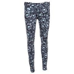 Kenzo Grey Floral Print Washed Denim Zip Detail Skinny Jeans M