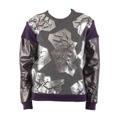 Kenzo Grey Monster Foil Print Multi Fabric Sweatshirt S