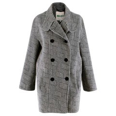 Kenzo Grey Patterned Wool & Mohair Double Breasted Coat - Size US 6