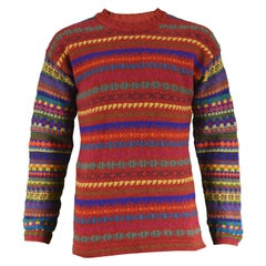 Kenzo Homme Men's Red Geometric Knit Vintage Panelled Sweater, 1980s
