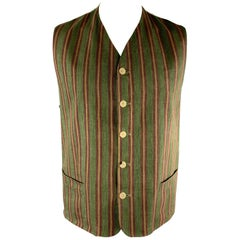 KENZO HOMME Size XXL Green & Burgundy Striped Linen Vest