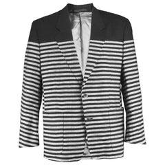 Kenzo Homme Vintage 1980's Linen & Wool Black & Gray Striped Men's Blazer Jacket