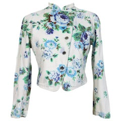 Kenzo Jeans Blue Beige Cotton Denim Floral Short Jacket