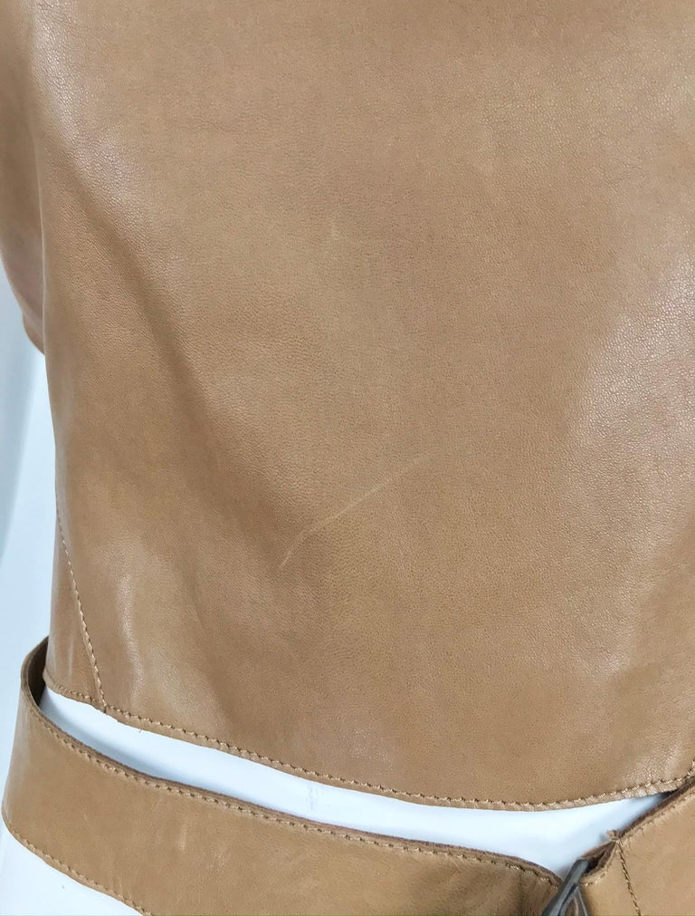 Kenzo Jungle Caramel Leather Waist Wrap Cropped Top 1980s  6