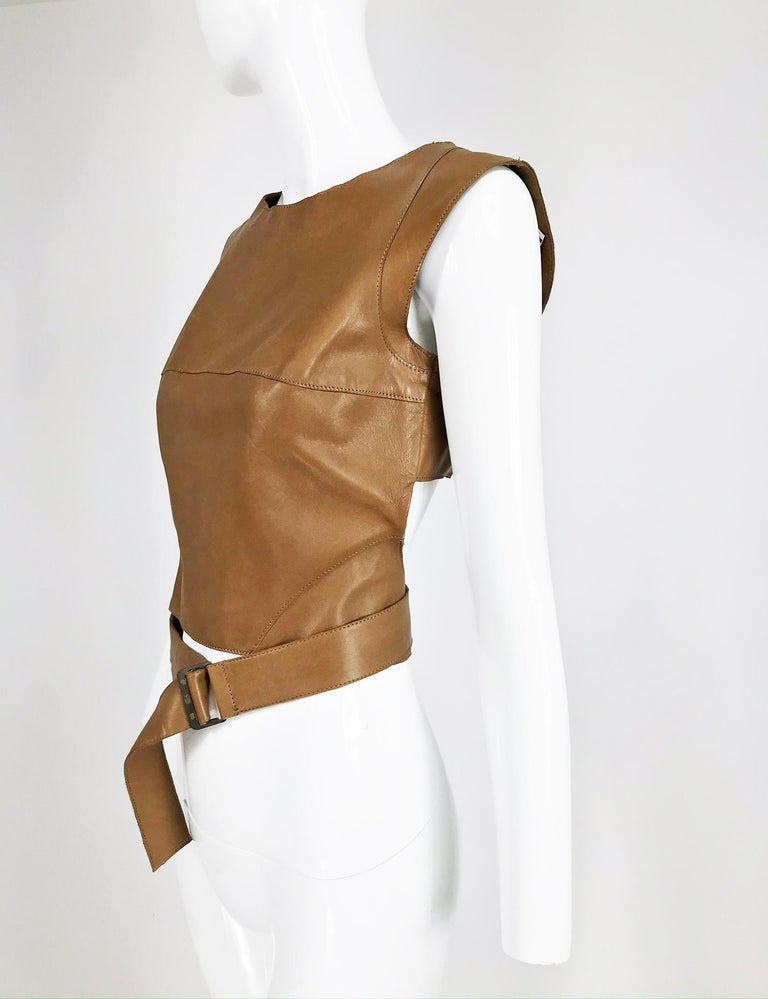 Kenzo Jungle Caramel Leather Waist Wrap Cropped Top 1980s  In Excellent Condition In West Palm Beach, FL