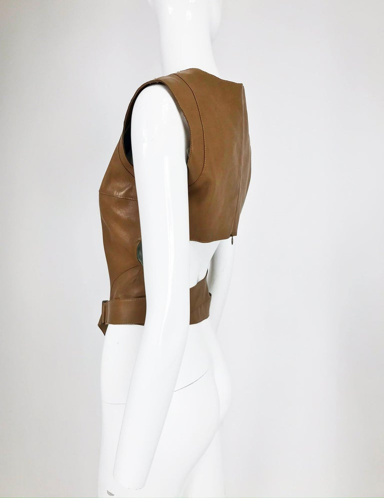 Women's or Men's Kenzo Jungle Caramel Leather Waist Wrap Cropped Top 1980s
