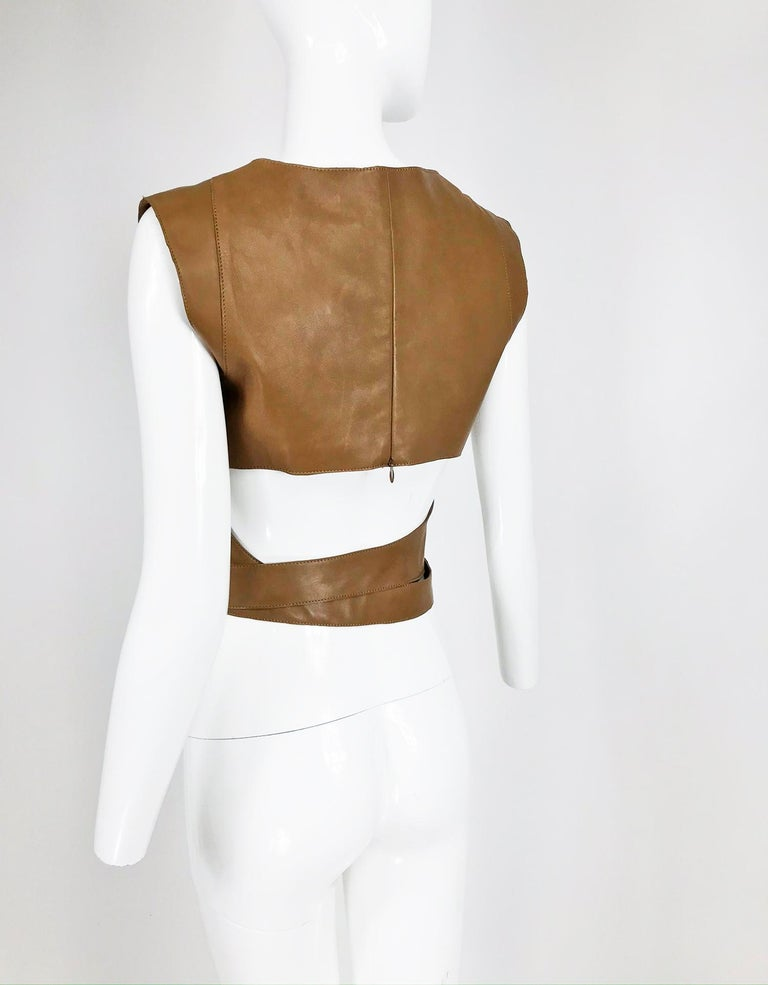 Kenzo Jungle Caramel Leather Waist Wrap Cropped Top 1980s  1