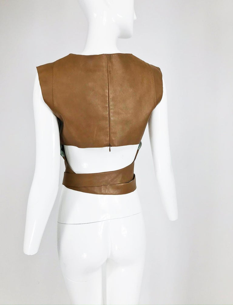 Kenzo Jungle Caramel Leather Waist Wrap Cropped Top 1980s  2