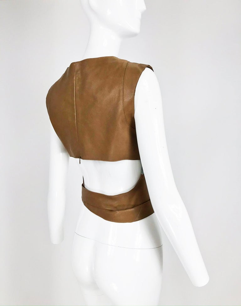 Kenzo Jungle Caramel Leather Waist Wrap Cropped Top 1980s  3