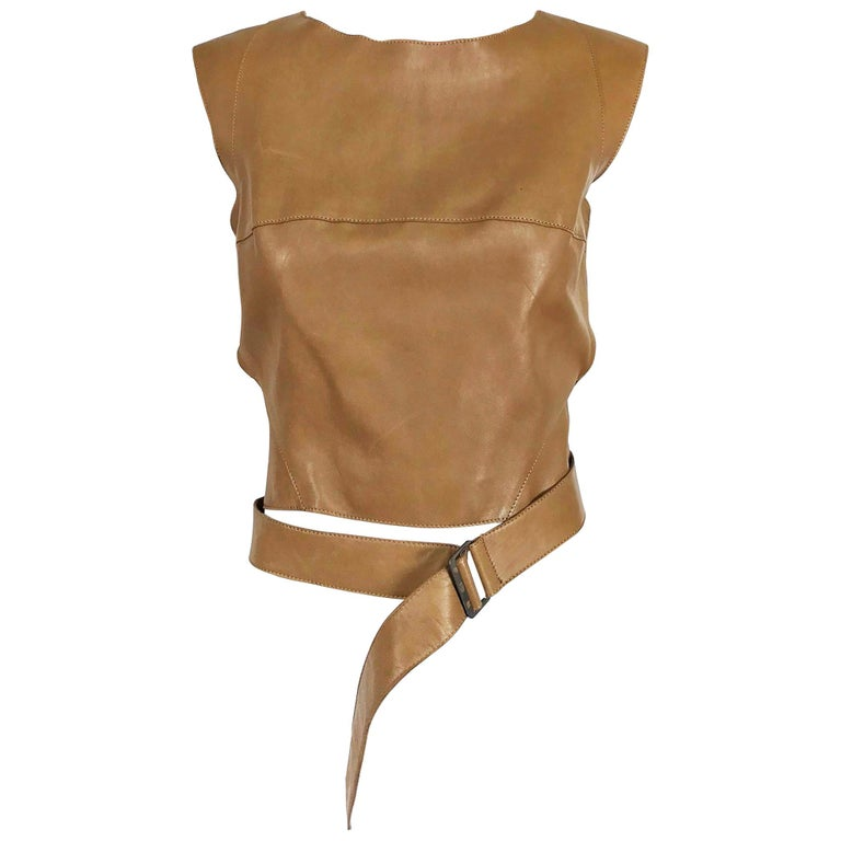 Kenzo Jungle Caramel Leather Waist Wrap Cropped Top 1980s