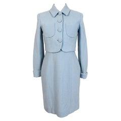Kenzo Jungle Light Blue Wool Suit Dress and Jacket
