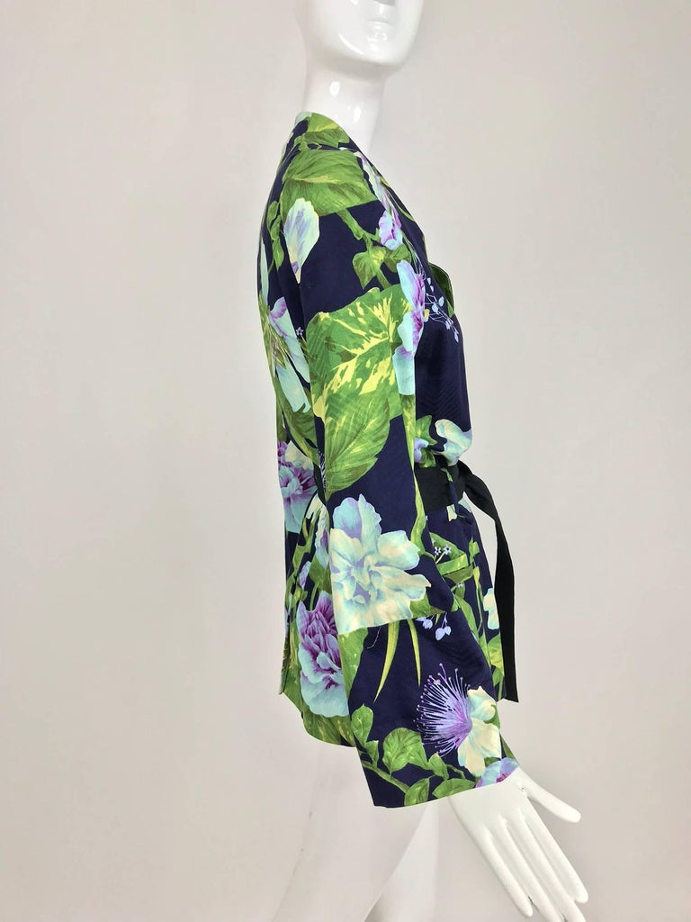 Kenzo Jungle tropical cotton print wrap jacket, 1980s For Sale 6