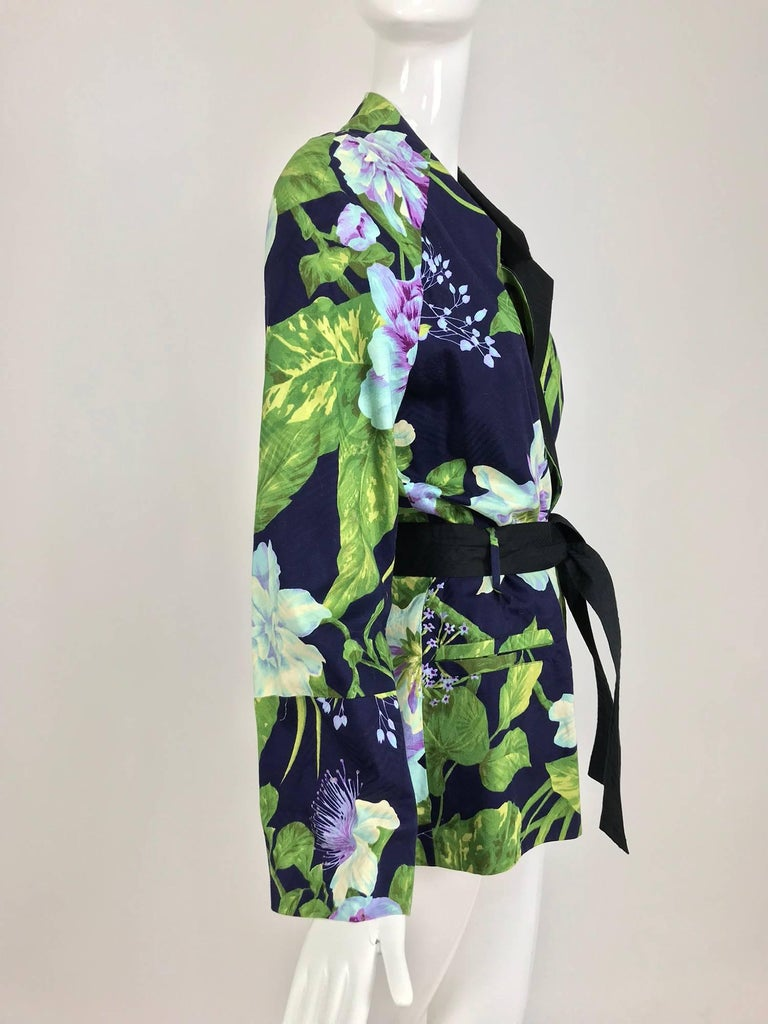 Kenzo Jungle tropical cotton print wrap jacket, 1980s For Sale 7