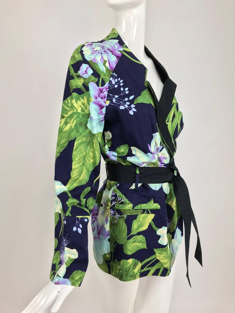 Kenzo Jungle tropical cotton print wrap jacket, 1980s For Sale 8