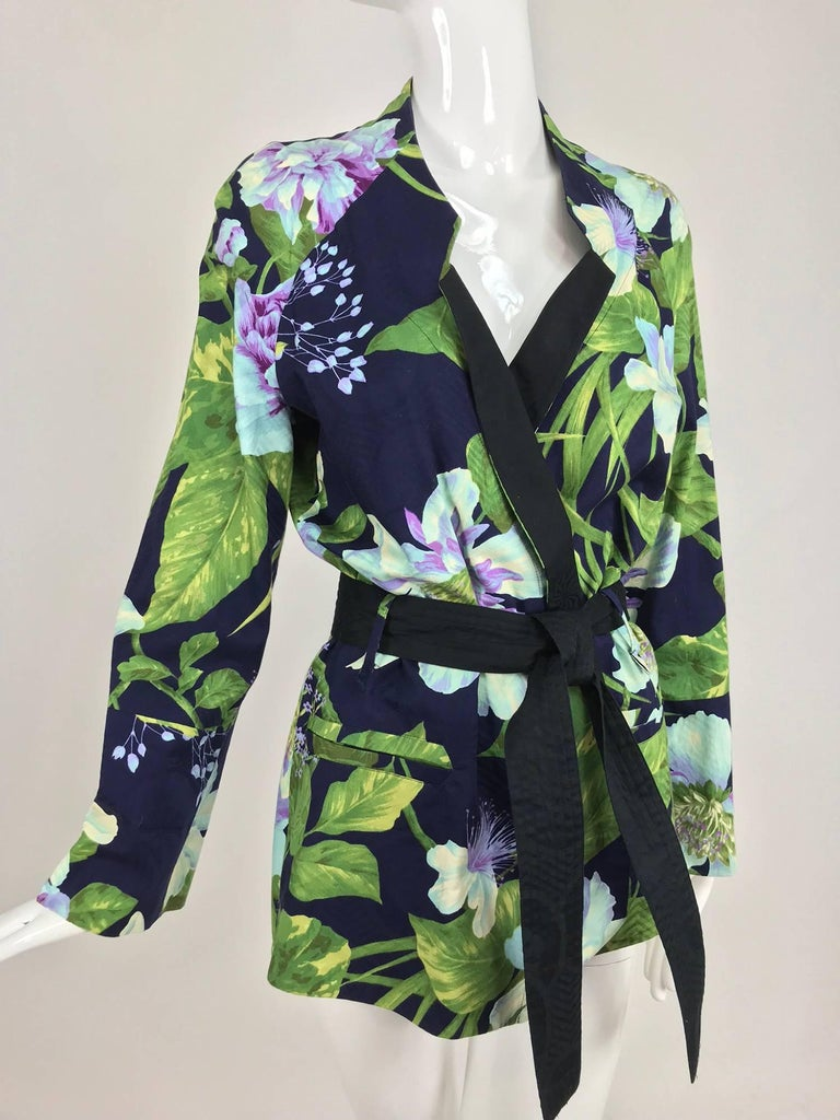 Kenzo Jungle tropical cotton print wrap jacket, 1980s For Sale 9