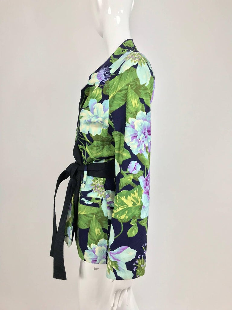 Black Kenzo Jungle tropical cotton print wrap jacket, 1980s For Sale