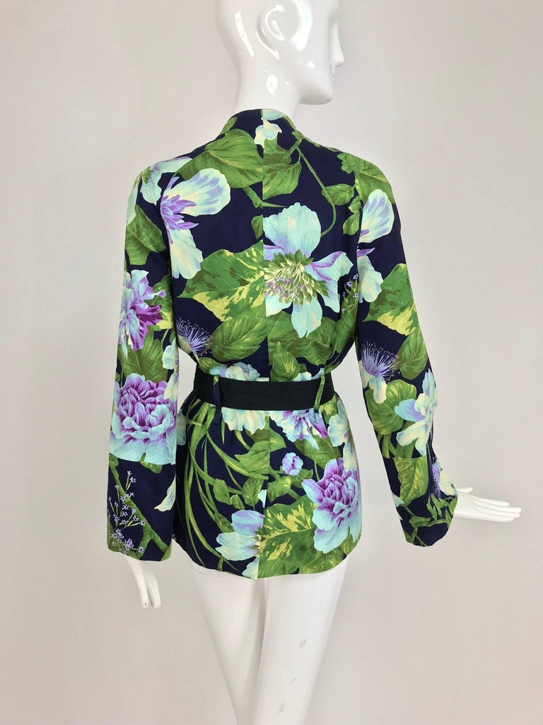 Kenzo Jungle tropical cotton print wrap jacket, 1980s For Sale 2