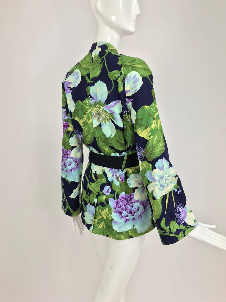 Kenzo Jungle tropical cotton print wrap jacket, 1980s For Sale 4