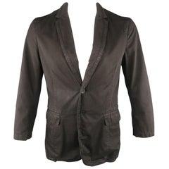 KENZO L Regular Black Solid Cotton Notch Lapel Sport Coat