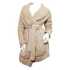 Kenzo Light Oyster Grey Wool Cardigan