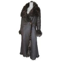 KENZO Jungle Long Lamb Shearling Leather Coat