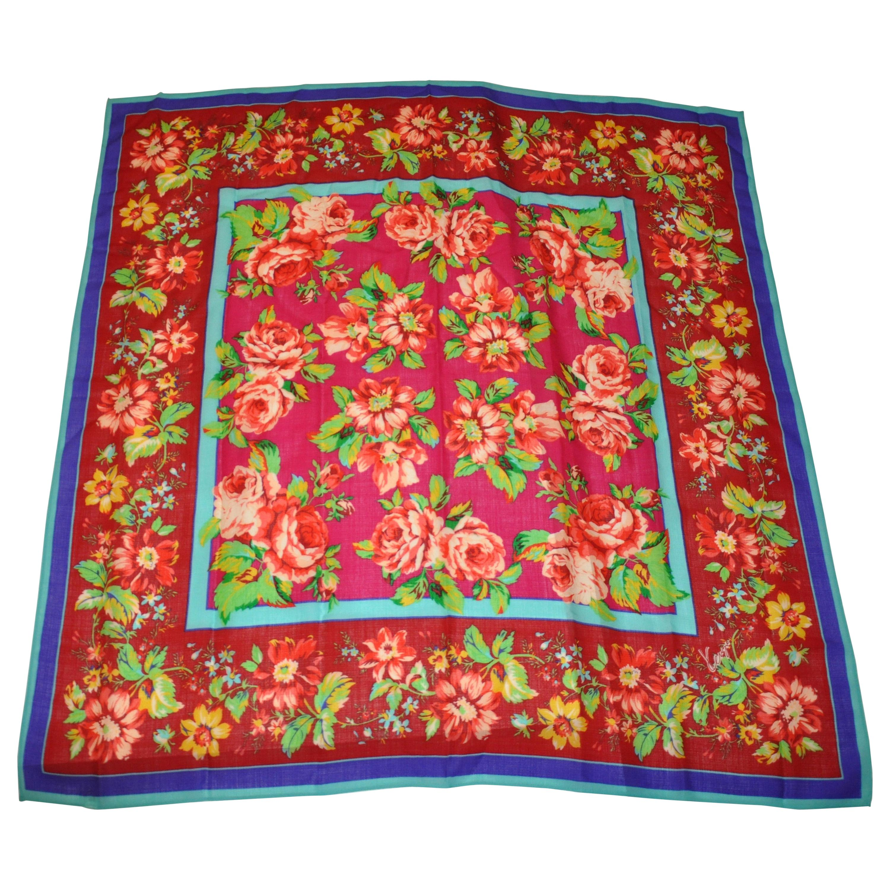 """Kenzo Magnificent """"Iconic Multi Color Floral"""" Print Wool Challis Shawl/Scarf"""