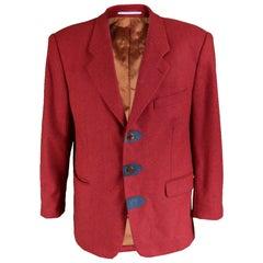 Kenzo Mens Vintage Red Suede Trim Blazer