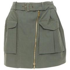 KENZO military khaki green cotton dual pockets belted elasticated skirt Fr38