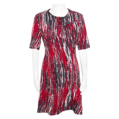 Kenzo Multicolor Jacquard Knit Curved Overlap Bodice Detail Dress XL