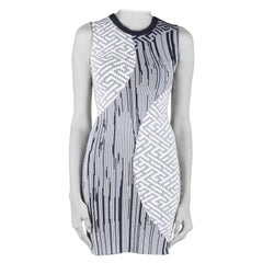 Kenzo Navy Blue and White Jacquard Knit Sleeveless Crew Neck Dress S