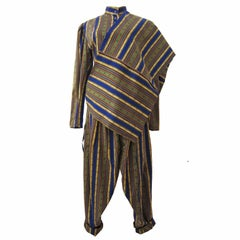 Kenzo Paris 3 Piece Stripe Set Trouser Jacket And Shawl 1980s