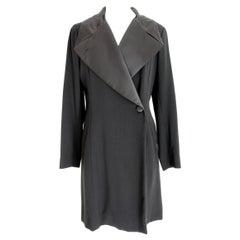 Kenzo Paris Black Wool Long Jacket Coat 1990s Shinny Lapel One Button