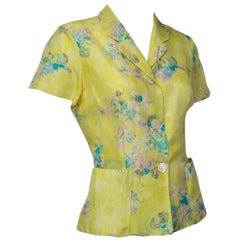 Kenzo Paris Chartreuse Watercolor Silk Tie Peplum Blouse - Med, 1980s