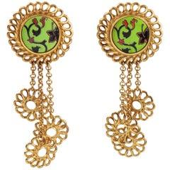 Kenzo Paris Floral Dangle Ceramic Clip Earrings