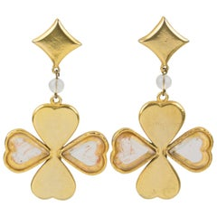Kenzo Paris Four-Leaf Clover Dangle Clip Earrings