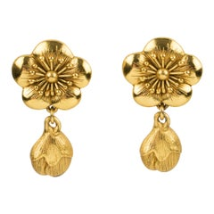Kenzo Paris Gilt Metal Cherry Blossom Flower Clip Earrings