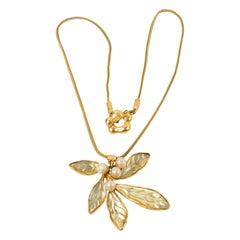 Kenzo Paris Gilt Metal Mistletoe Flower Necklace with Yellow Resin Leaves