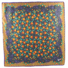 Kenzo Paris Silk Scarf Purple Orange Multi Flowers Design Print Pattern